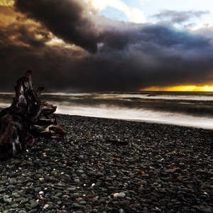 A photograph for sale (night time landscape) of Sunset at Gillespies Beach, Westland, South Island, New Zealand, available to buy