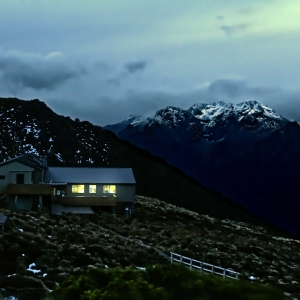 A photograph for sale (night time landscape) of Luxmore hut, underneath Mount Luxmore on the Kepler Track, a long walking trail in Fjordland, South Island, New Zealand - available to buy