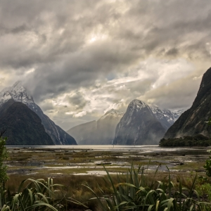 A photograph for sale of mountains surrounding Milford Sound, including the famous Mitre Peak, Fjordland, South Island, New Zealand, available to buy