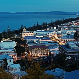A photograph for sale (night time landscape) of Napier, Art Deco City in Hawks Bay, in New Zealand's North Island, available to buy
