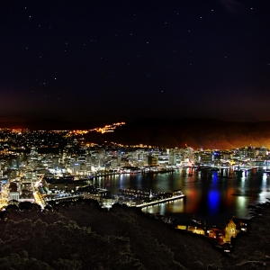 A photograph for sale of Wellington, New Zealand, taken at night, under a star-lit sky, North Island, New Zealand night time landscape photography available to buy