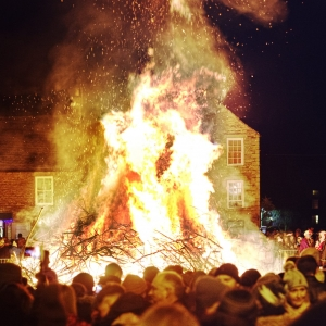 bonfire at Allendale Tar Bar'l, (or Allendale Tar Barrels) New Year 2020